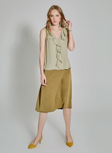People By Fabrika Volan Detaylı Bluz Yeşil